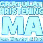 Baby Blue & Dark Blue Christening Banner