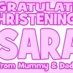 Baby Pink & Dark Pink Christening Banner