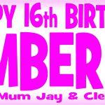 Pink (Dark) & White Birthday Banner